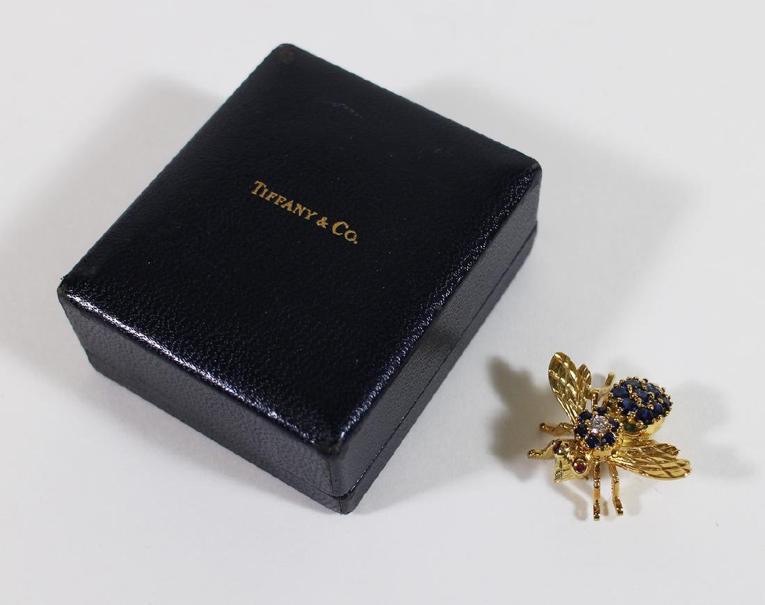 TIFFANY & CO 18K GOLD SAPPHIRE BEE BROOCH