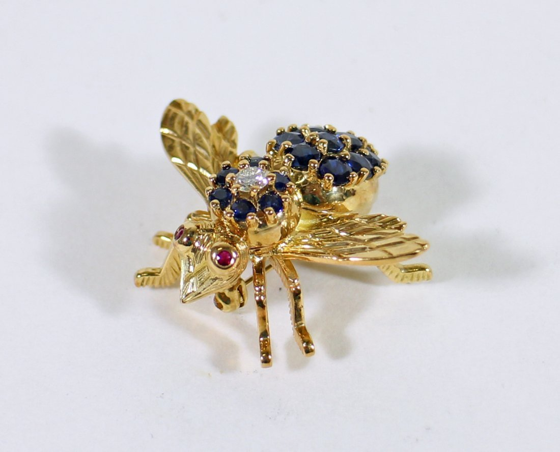 TIFFANY & CO 18K GOLD SAPPHIRE BEE BROOCH - 2