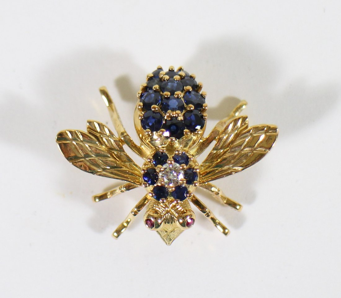TIFFANY & CO 18K GOLD SAPPHIRE BEE BROOCH - 3