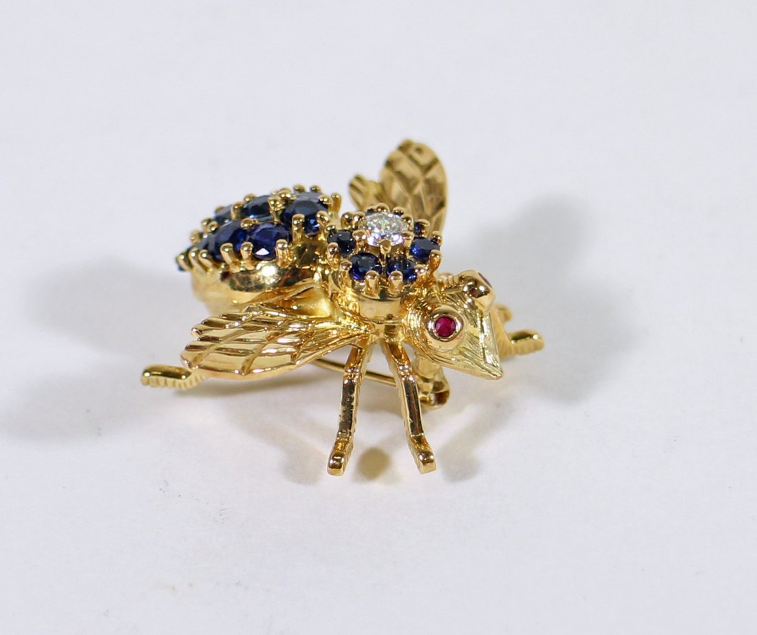 TIFFANY & CO 18K GOLD SAPPHIRE BEE BROOCH - 4