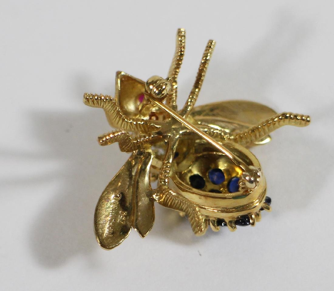 TIFFANY & CO 18K GOLD SAPPHIRE BEE BROOCH - 5