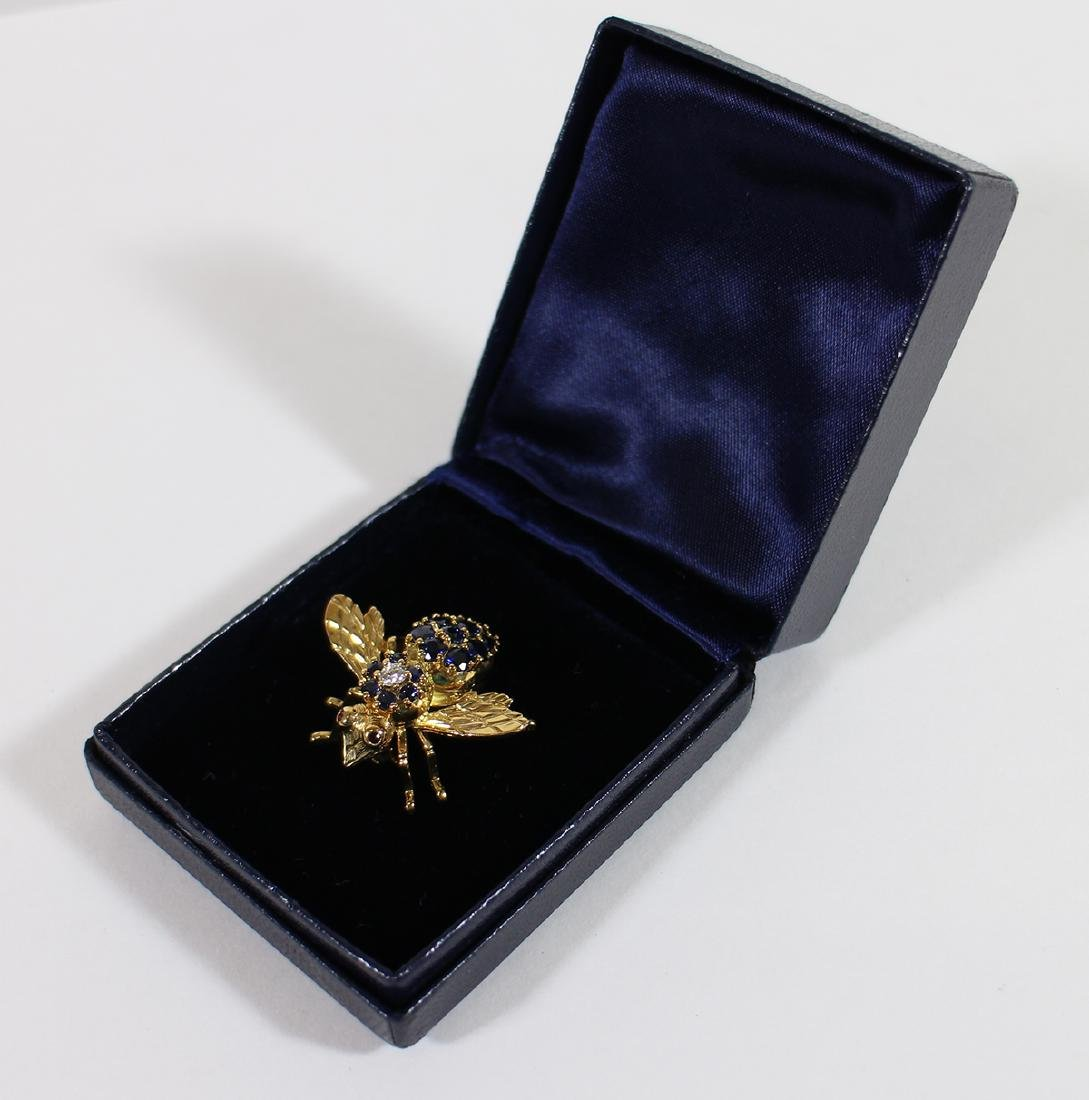 TIFFANY & CO 18K GOLD SAPPHIRE BEE BROOCH - 6