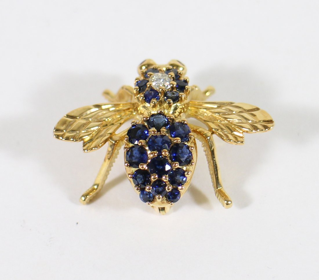 TIFFANY & CO 18K GOLD SAPPHIRE BEE BROOCH - 7