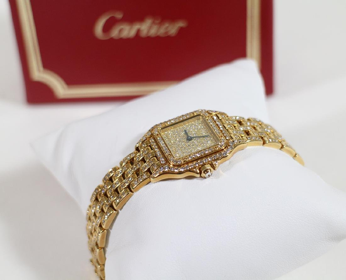 LADIES 18K GOLD & DIAMOND CARTIER PANTHERE WATCH