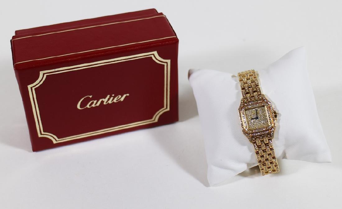 LADIES 18K GOLD & DIAMOND CARTIER PANTHERE WATCH - 2