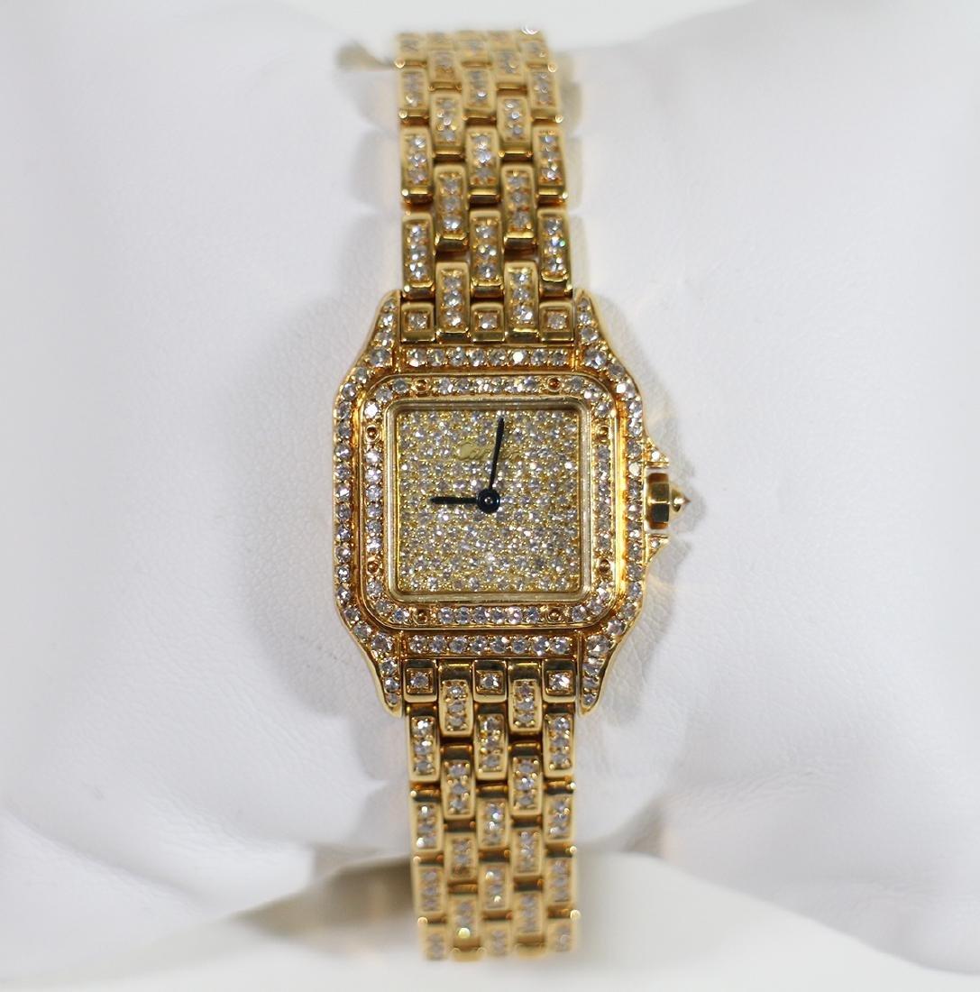 LADIES 18K GOLD & DIAMOND CARTIER PANTHERE WATCH - 3