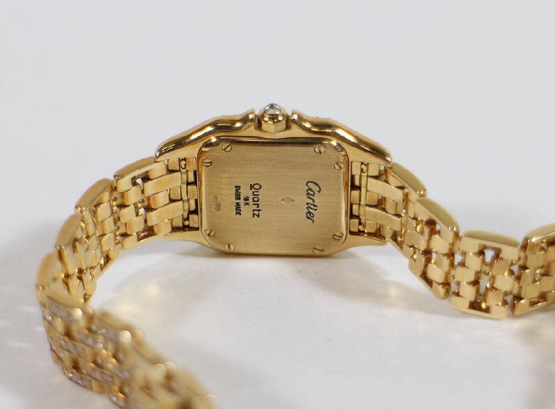 LADIES 18K GOLD & DIAMOND CARTIER PANTHERE WATCH - 4