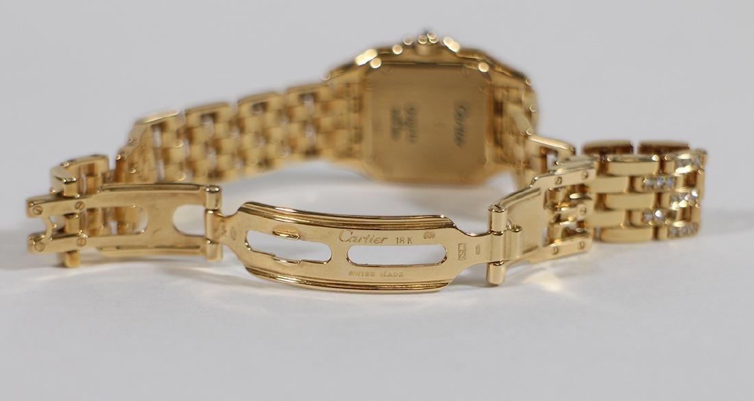 LADIES 18K GOLD & DIAMOND CARTIER PANTHERE WATCH - 5
