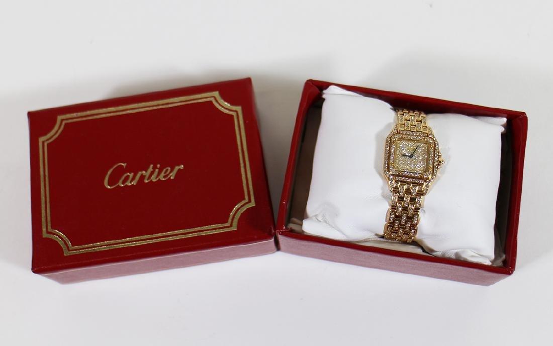 LADIES 18K GOLD & DIAMOND CARTIER PANTHERE WATCH - 7