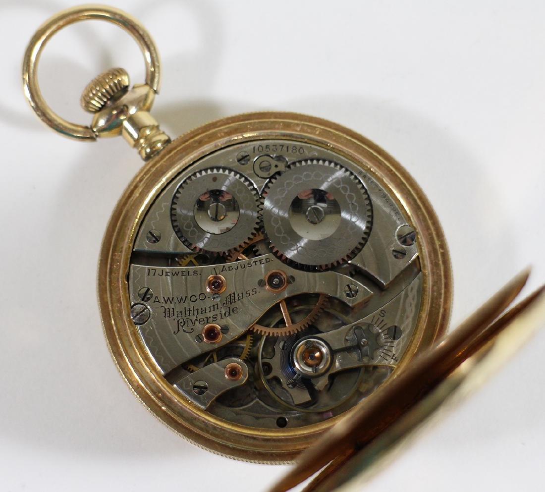 1901 WALTHAM GOLD FILLED RIVERSIDE POCKET WATCH - 4