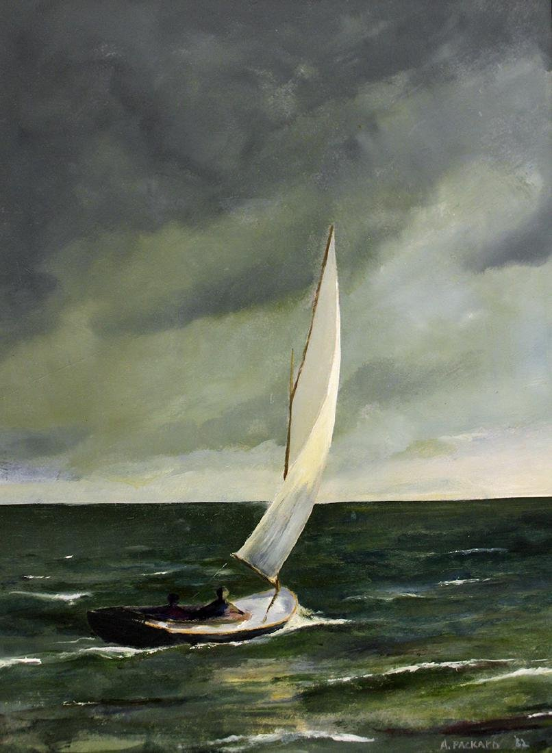 ANNE PACKARD STORMY SAILBOAT PAINTING