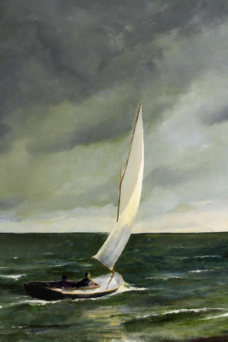 ANNE PACKARD STORMY SAILBOAT PAINTING - 2