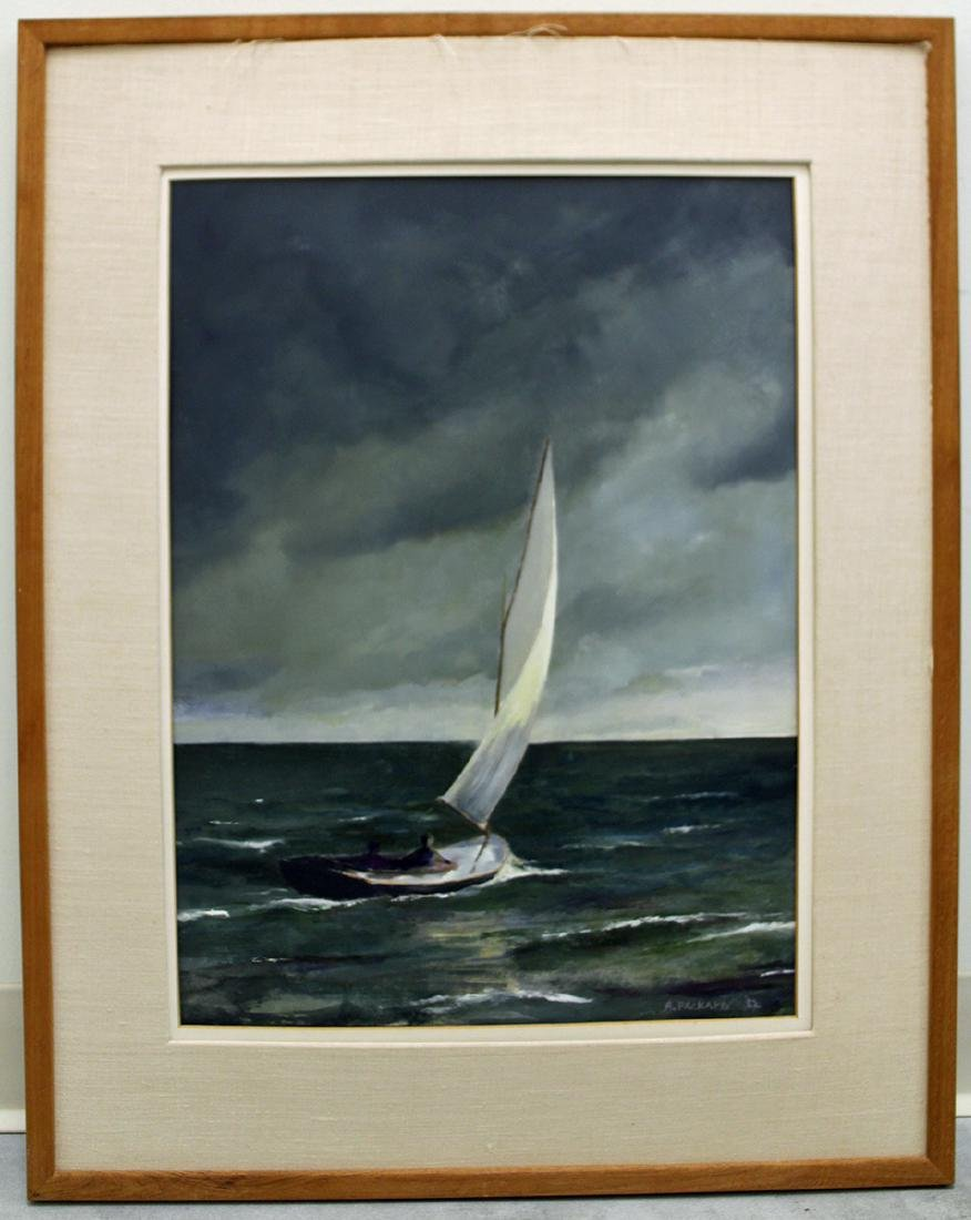 ANNE PACKARD STORMY SAILBOAT PAINTING - 4