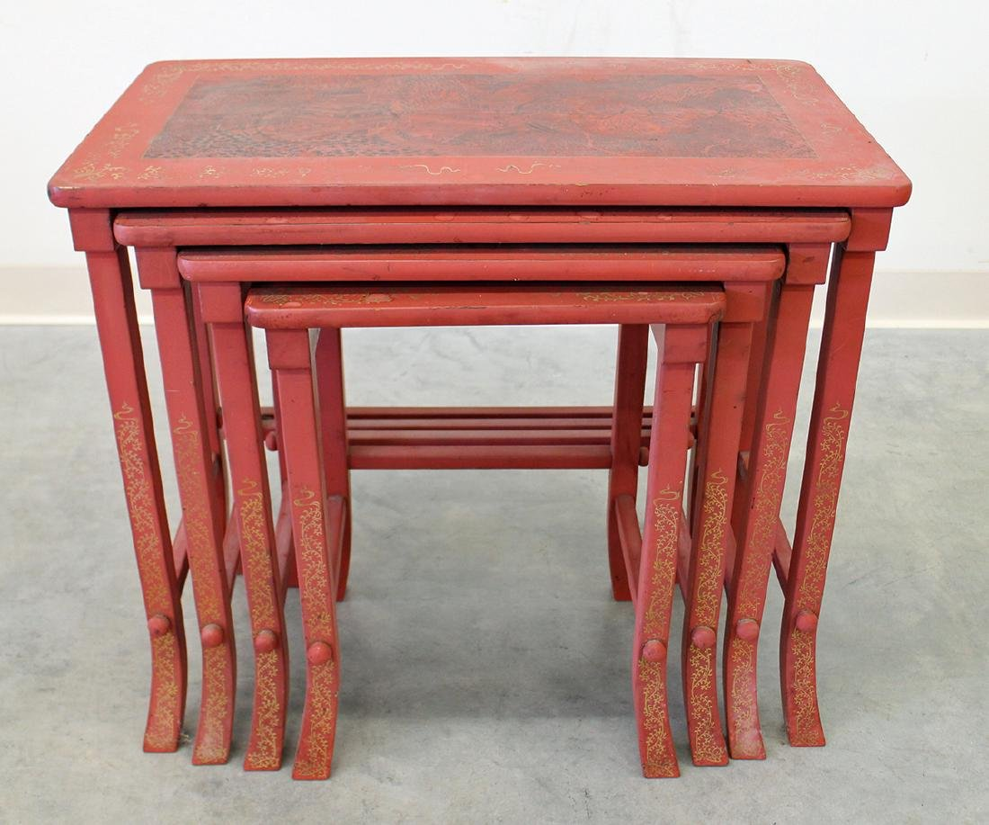 RED ASIAN NESTING TABLES