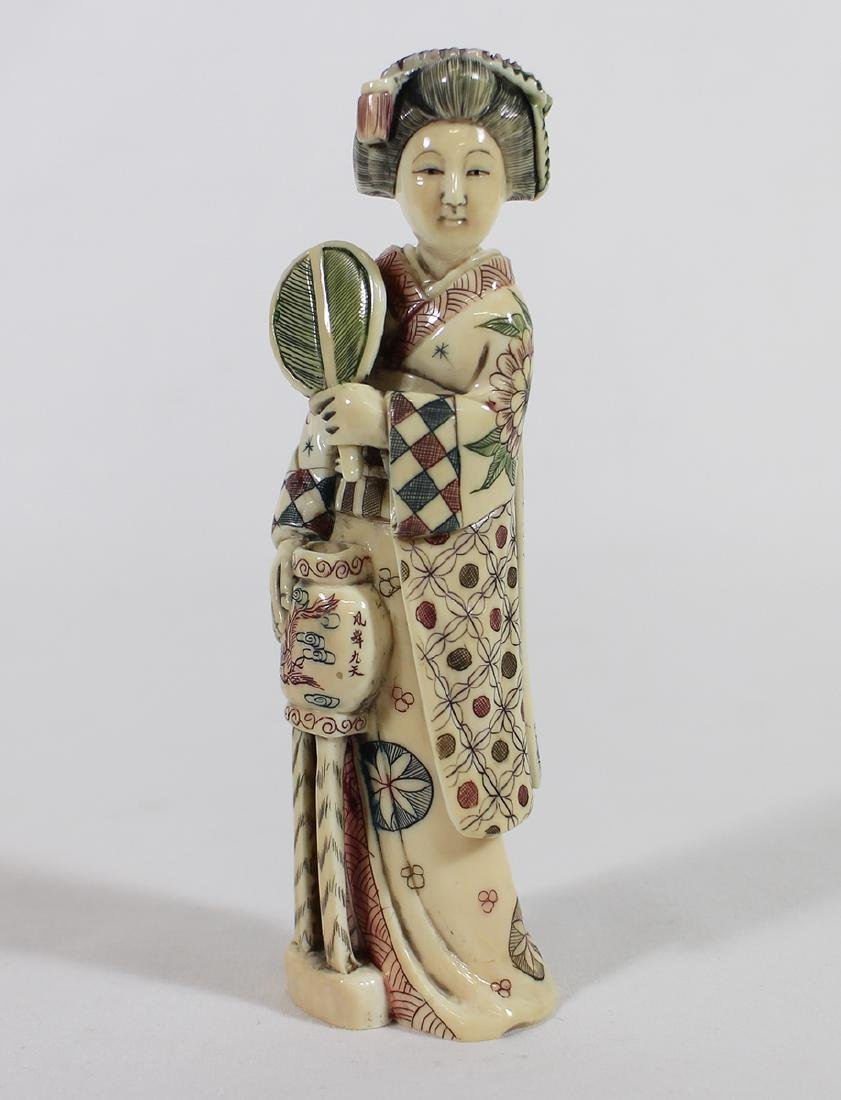 POLYCHROME SIGNED GEISHA FIGURINE