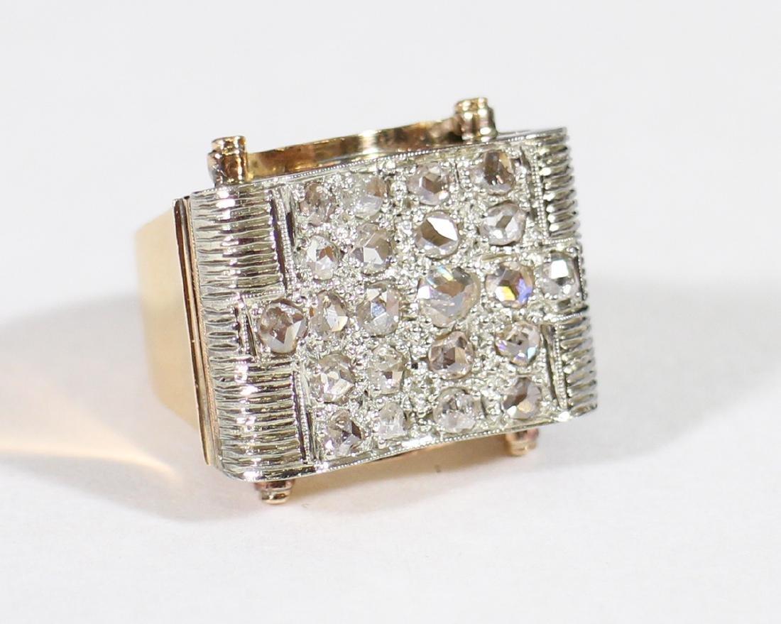 18K GOLD 1.75 TCW ROSE CUT DIAMOND RING