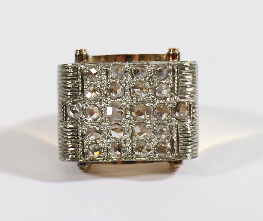 18K GOLD 1.75 TCW ROSE CUT DIAMOND RING - 2