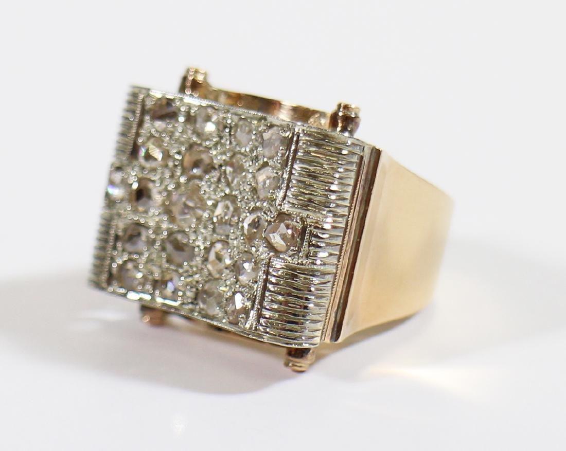 18K GOLD 1.75 TCW ROSE CUT DIAMOND RING - 4