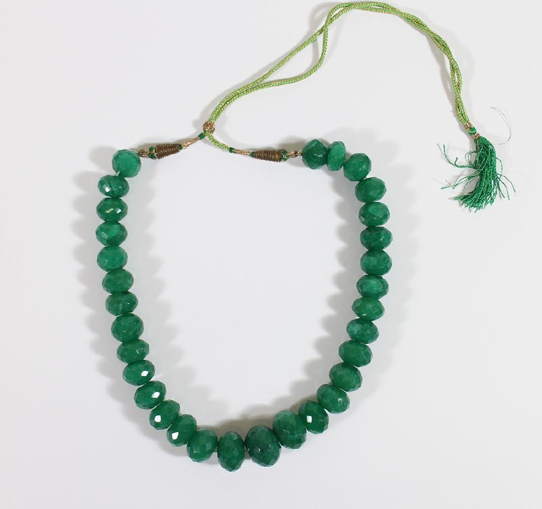 LARGE FACETED EMERALD BEADED NECKLACE