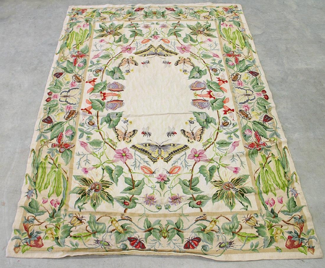 CHINESE AUBUSSON NEEDLEPOINT RUG WITH BUTTERFLIES