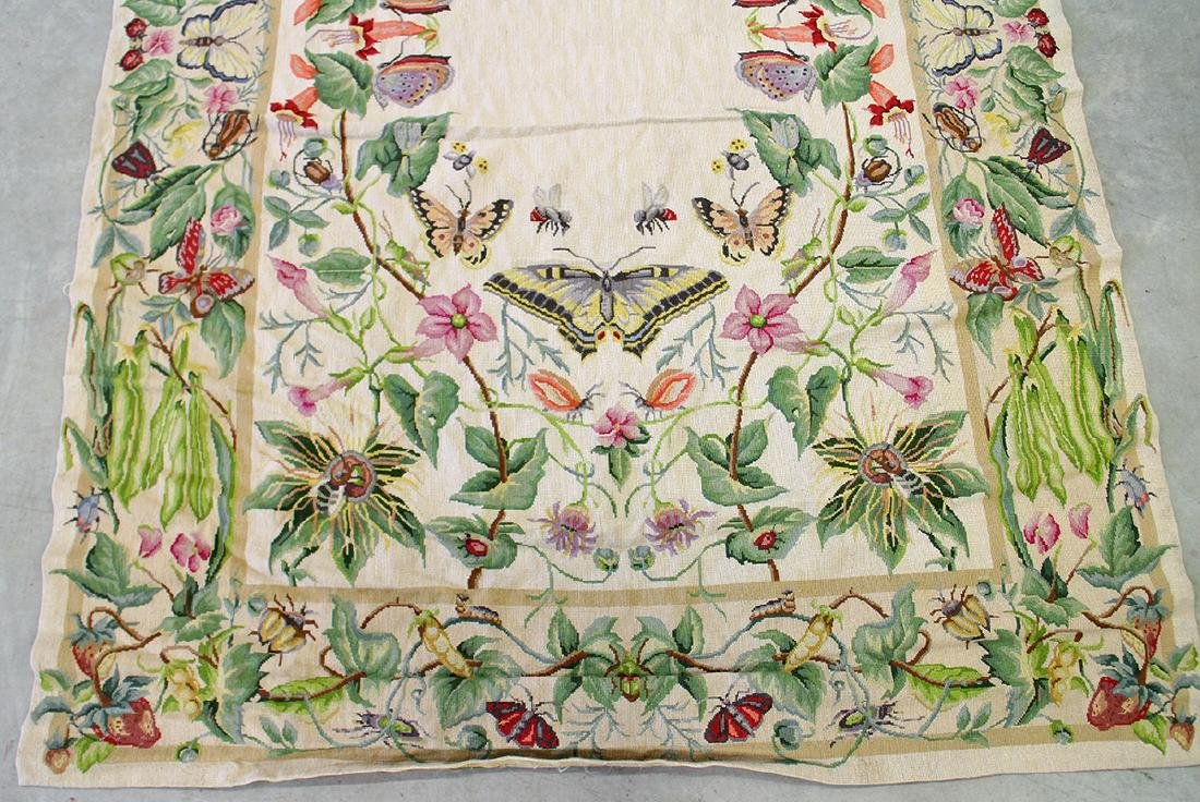 CHINESE AUBUSSON NEEDLEPOINT RUG WITH BUTTERFLIES - 2