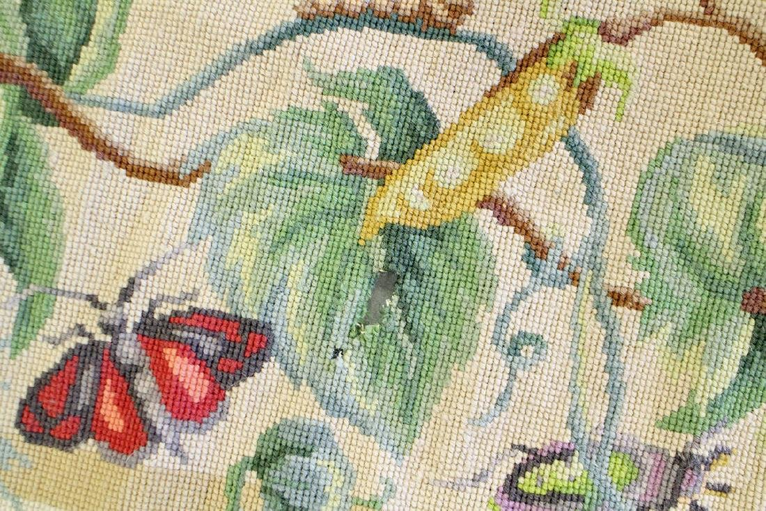 CHINESE AUBUSSON NEEDLEPOINT RUG WITH BUTTERFLIES - 3