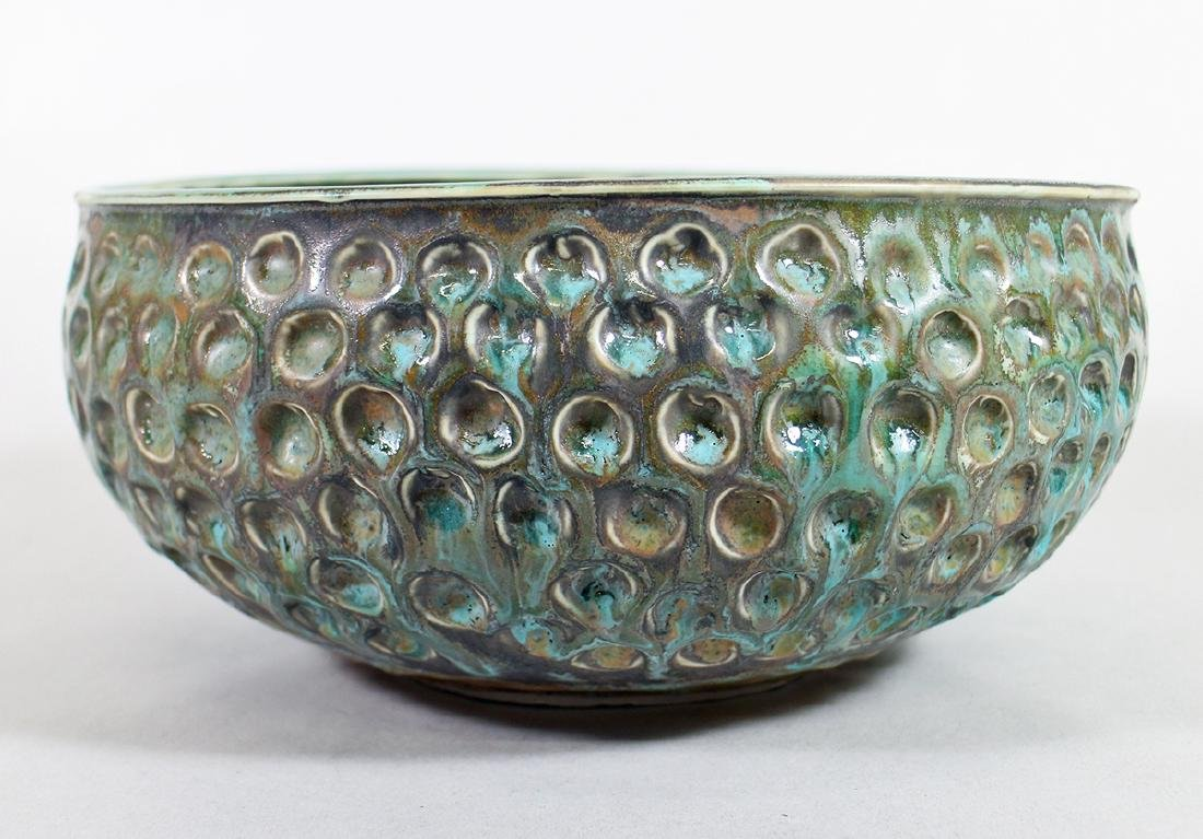 STUDIO POTTERY GREEN GLAZED CENTERPIECE BOWL