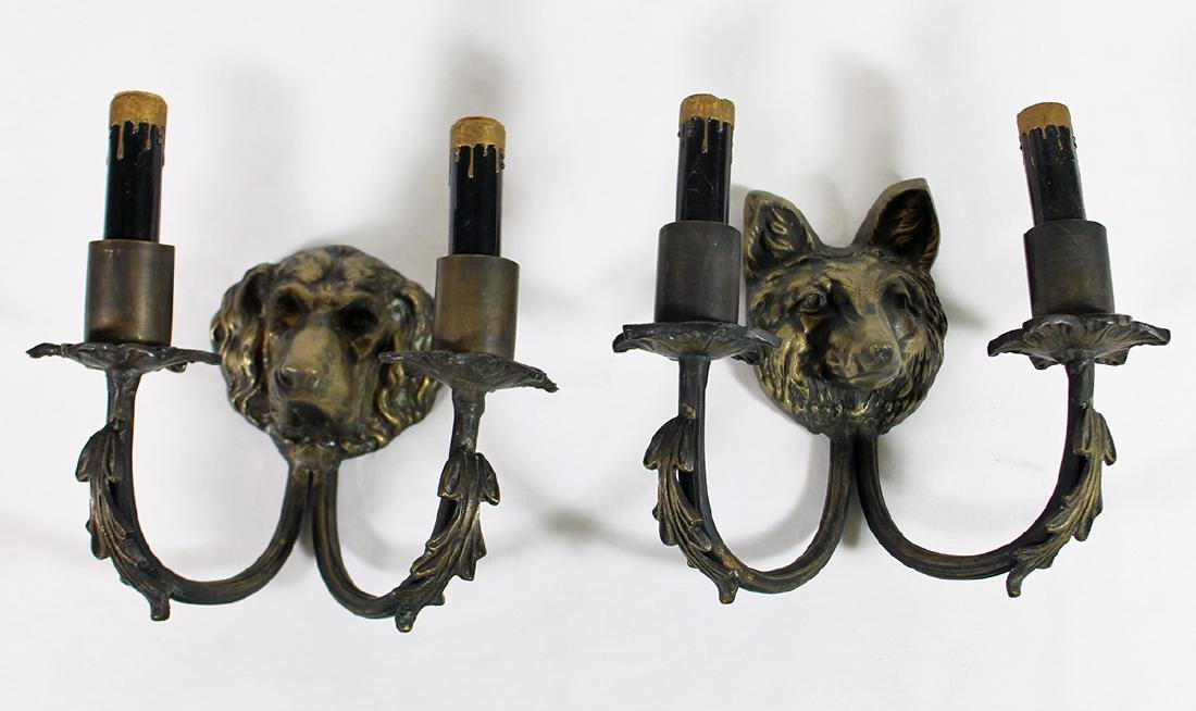 FOX & HOUND HEAD WALL SCONCES