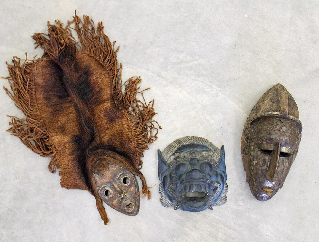 (3) WOOD AFRICAN & MORE MASKS
