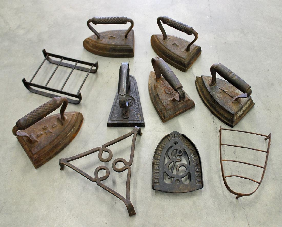 CAST IRON TRIVETS & IRONS
