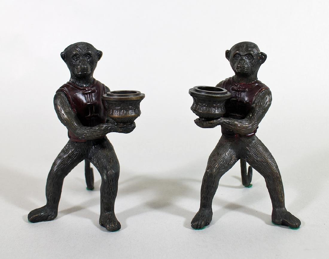 (2) BRONZE MONKEY CANDLE HOLDERS