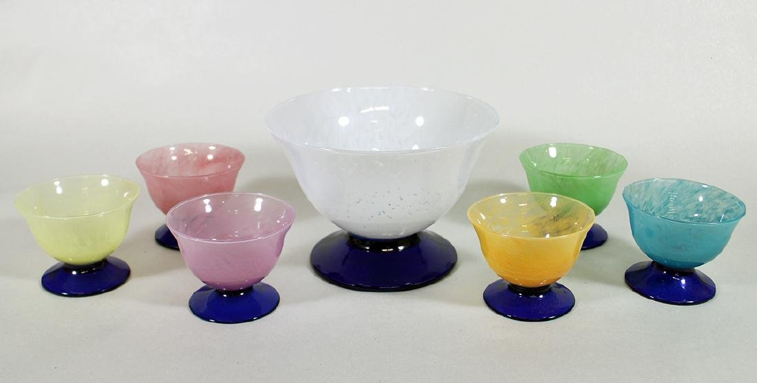 (7) PIECE VENETIAN SPLATTER GLASS DESSERT BOWL SET