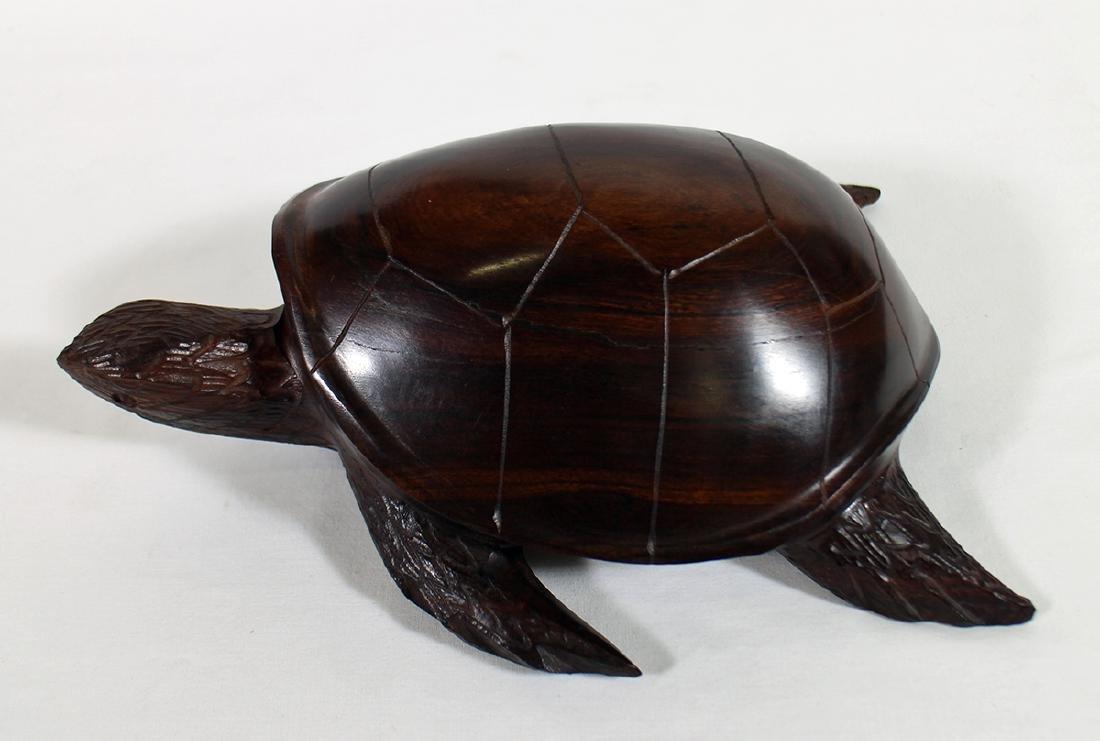 CARVED WOOD SEA TURTLE - 2