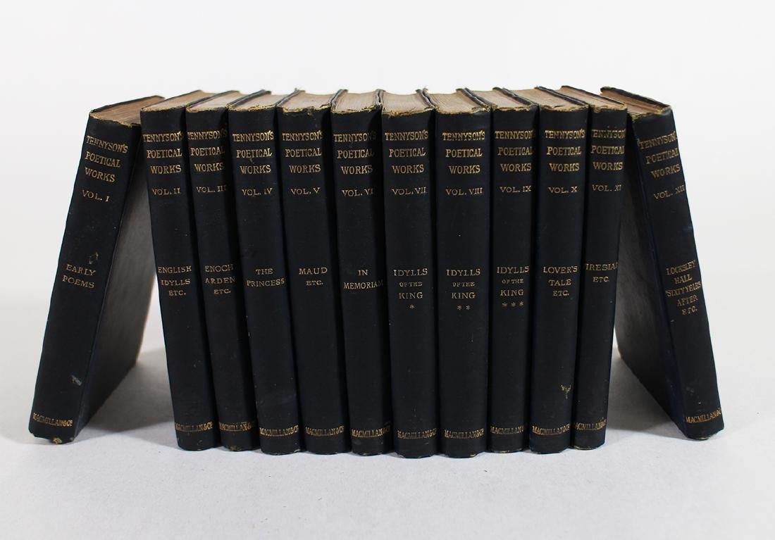 19TH CENTURY 12 VOLUME TENNYSON BOOKS
