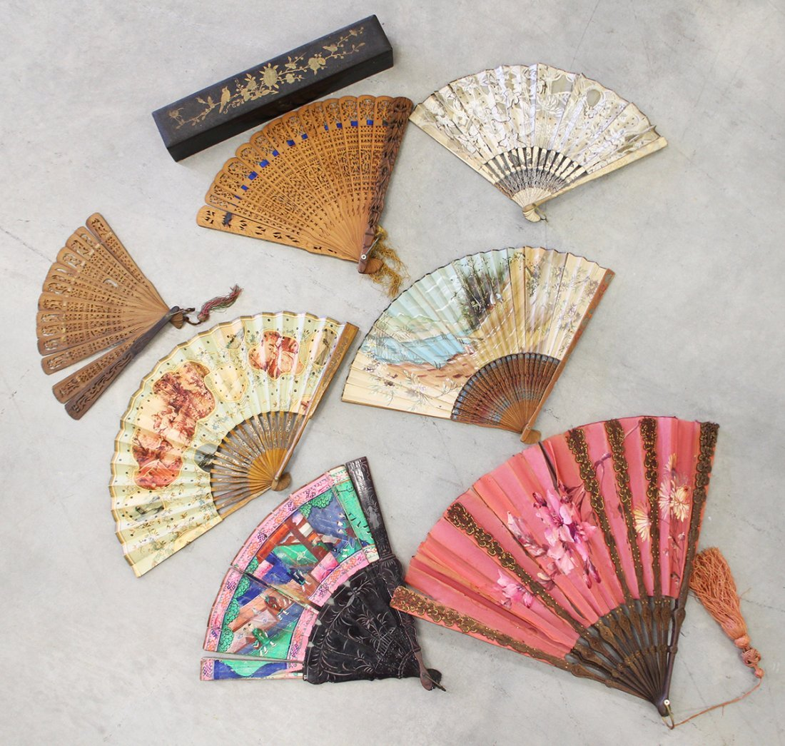 19TH CENTURY HAND PAINTED & WOODEN FANS