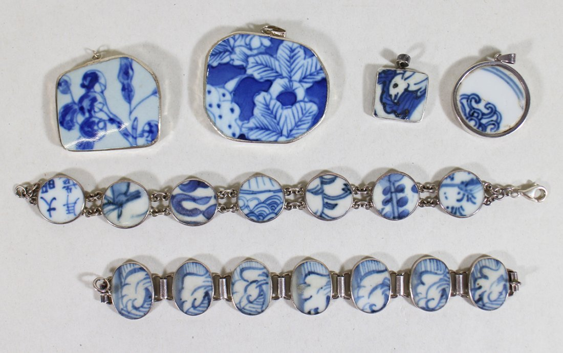 CHINESE POTTERY STERLING SILVER JEWELRY