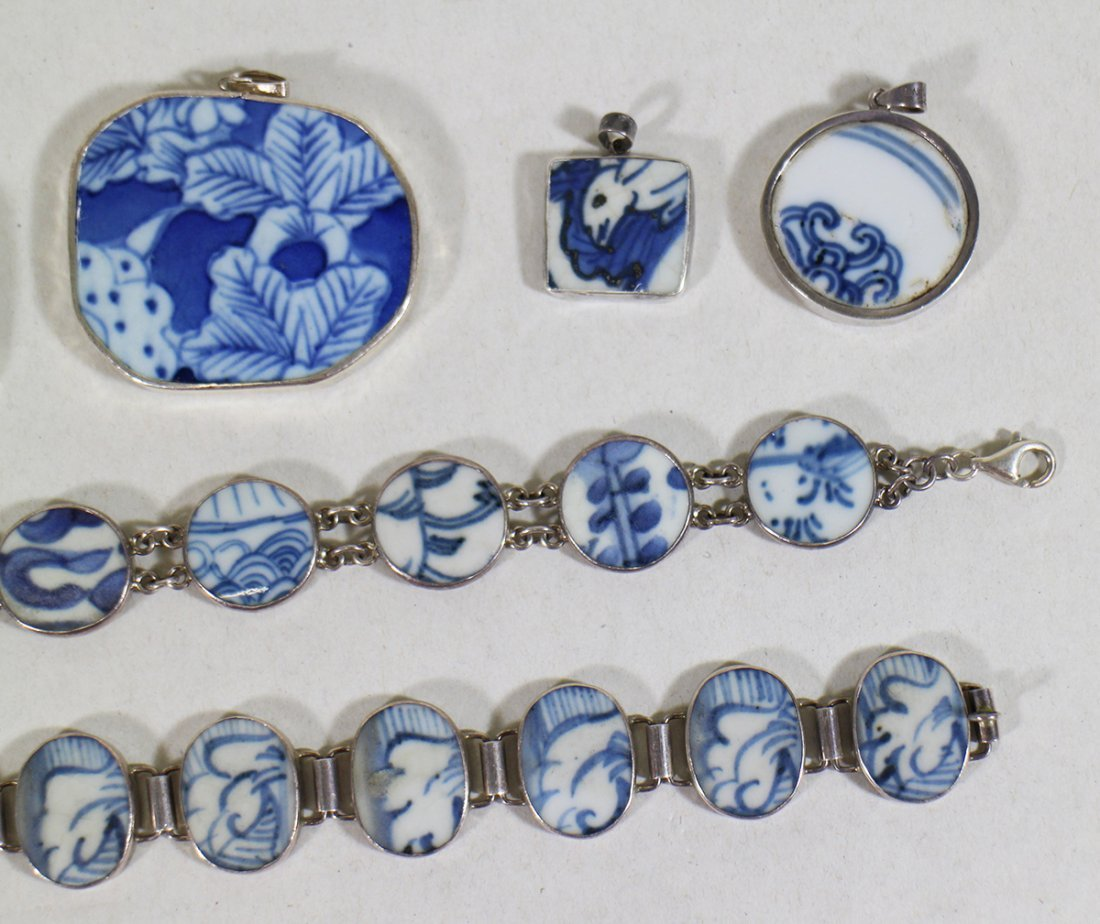 CHINESE POTTERY STERLING SILVER JEWELRY - 2