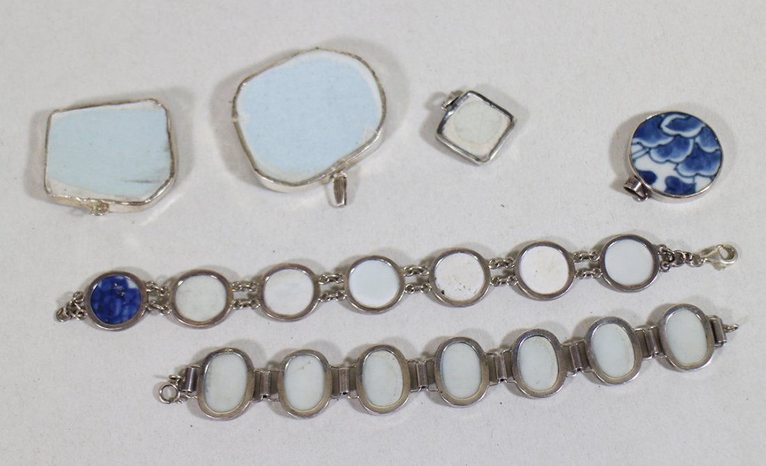 CHINESE POTTERY STERLING SILVER JEWELRY - 4