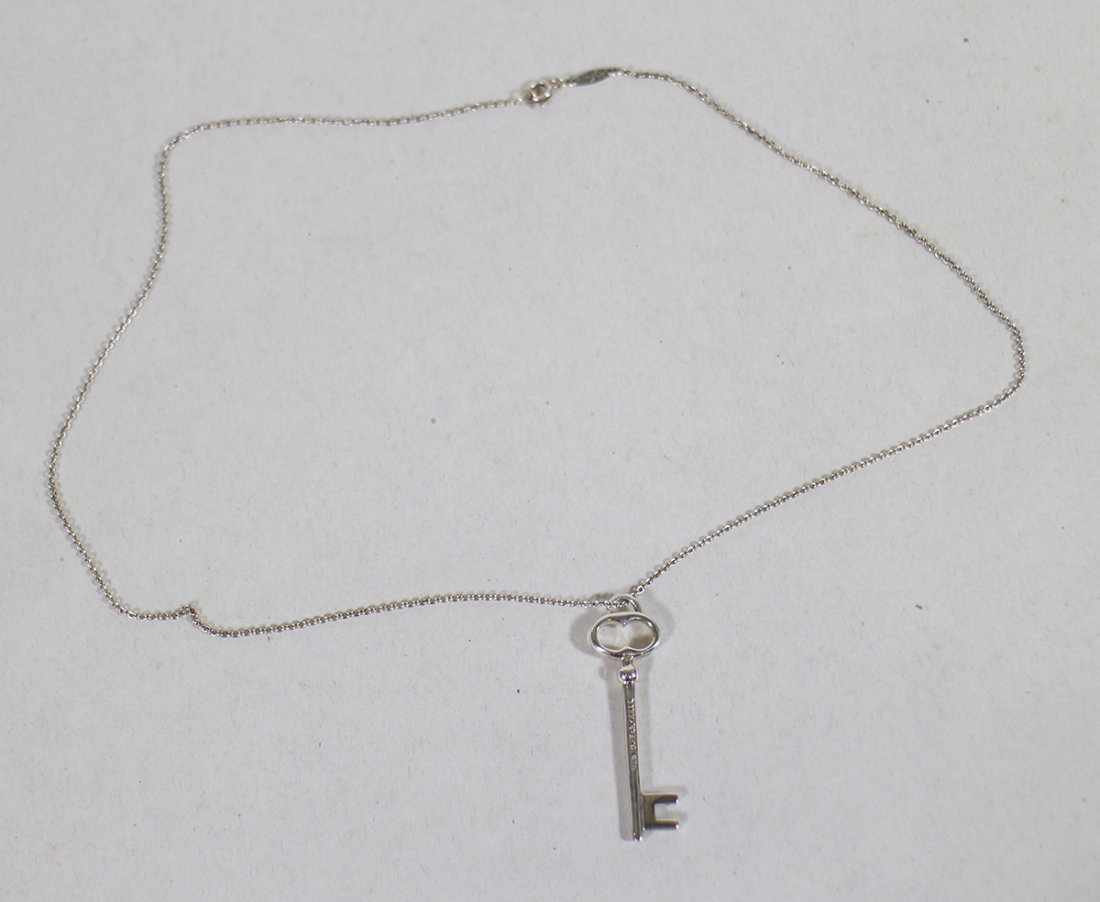 TIFFANY & CO. STERLING KEY PENDANT NECKLACE - 2