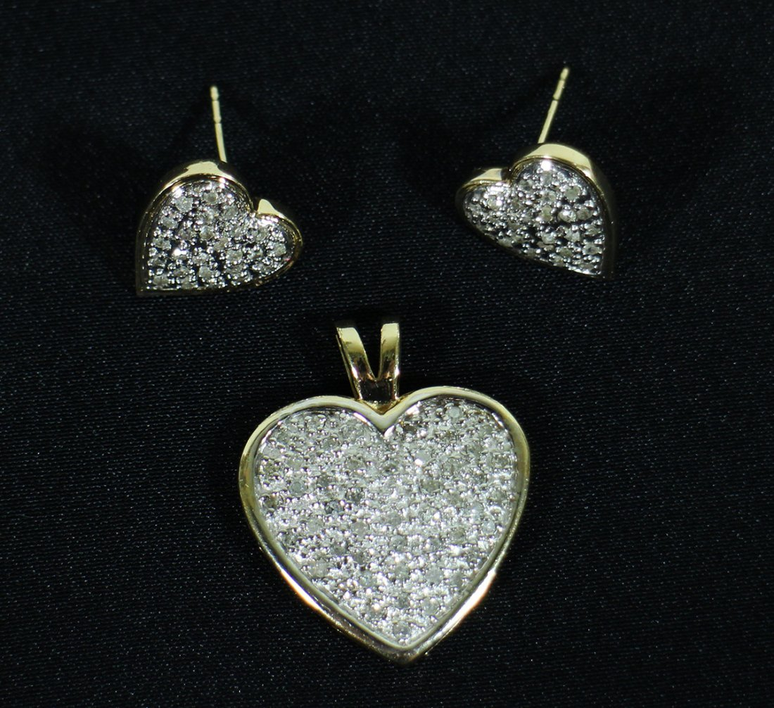 14K GOLD 1.00 TCW DIAMOND HEART & EARRINGS