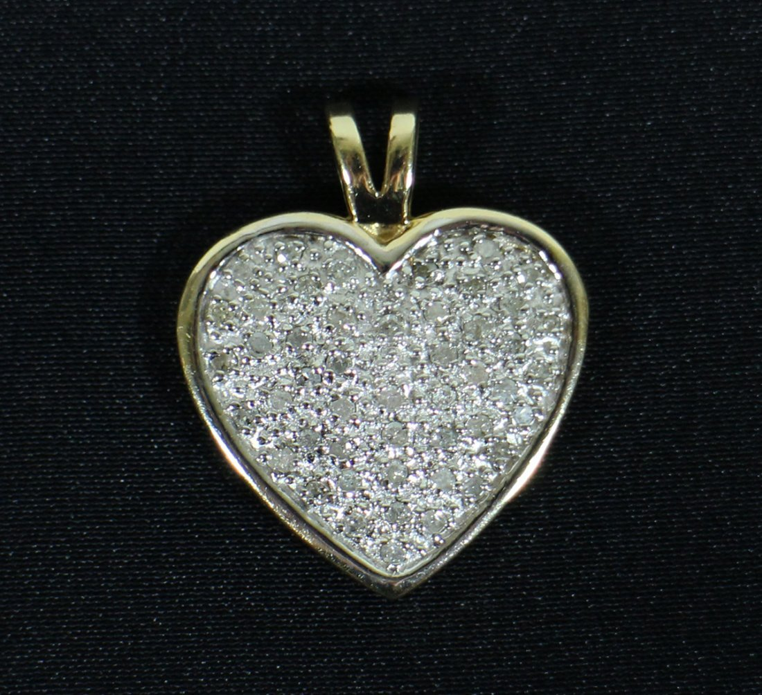 14K GOLD 1.00 TCW DIAMOND HEART & EARRINGS - 2