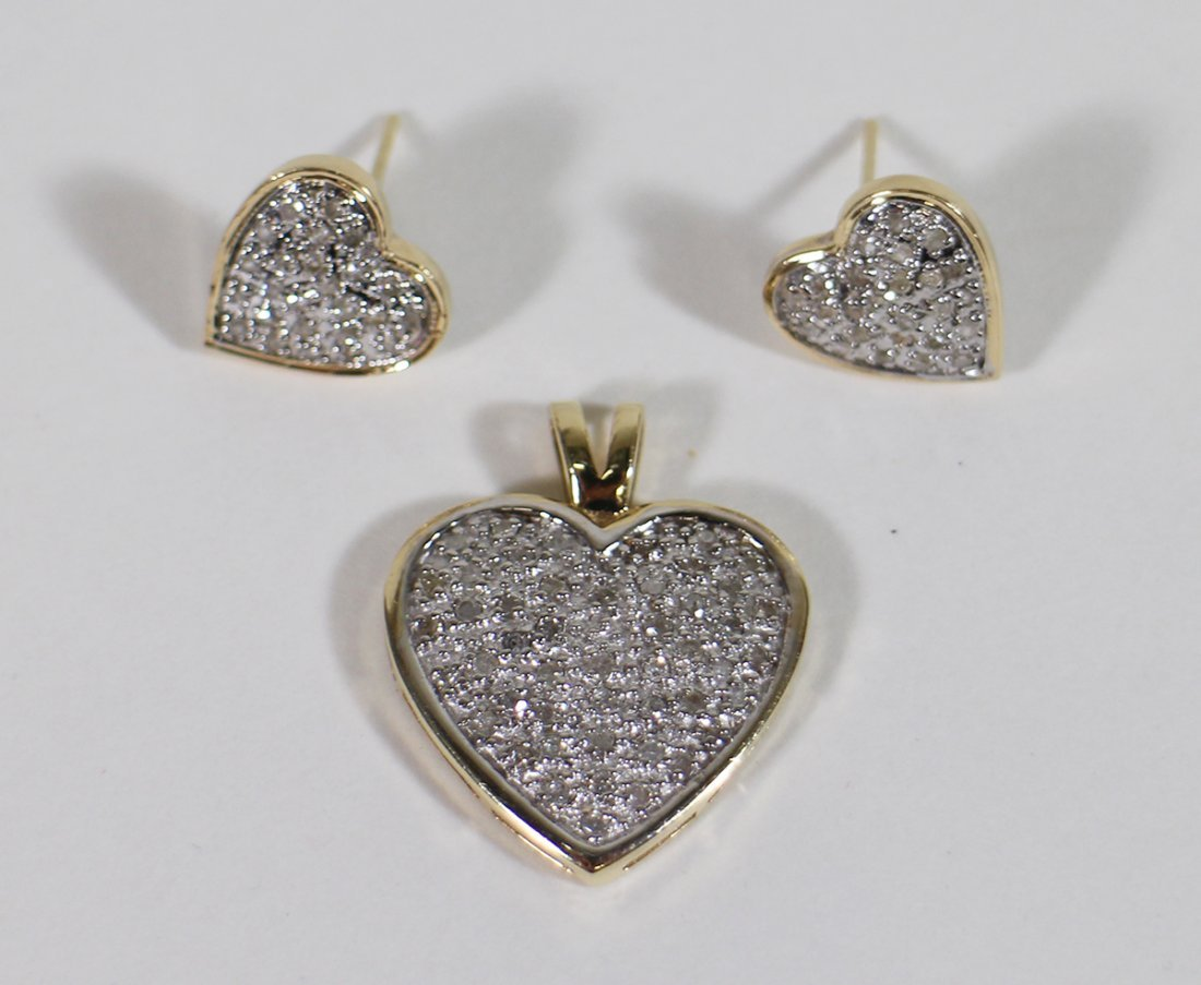 14K GOLD 1.00 TCW DIAMOND HEART & EARRINGS - 4