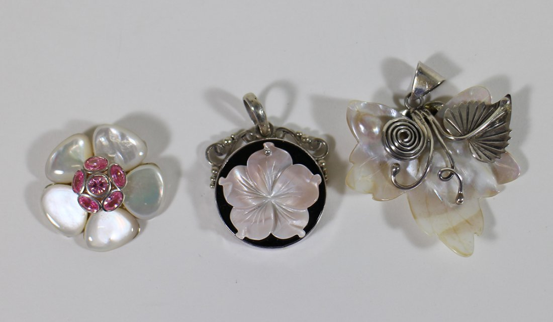 (3) STERLING SILVER MOTHER OF PEARL PENDANTS