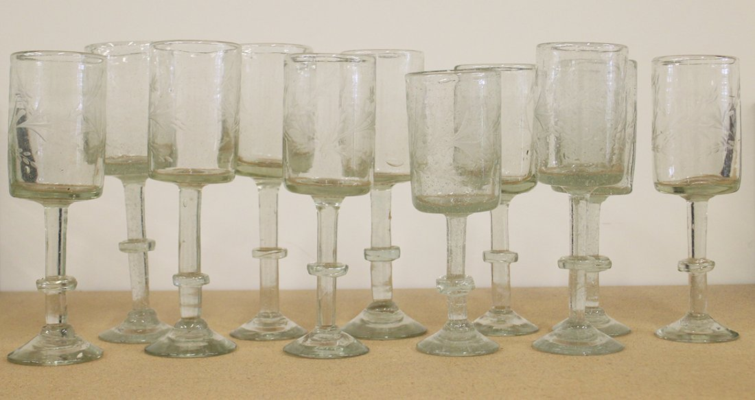 (12) ANTIQUE FREE BLOWN ETCHED FIRING GLASSES