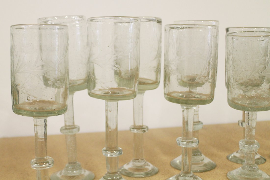 (12) ANTIQUE FREE BLOWN ETCHED FIRING GLASSES - 2