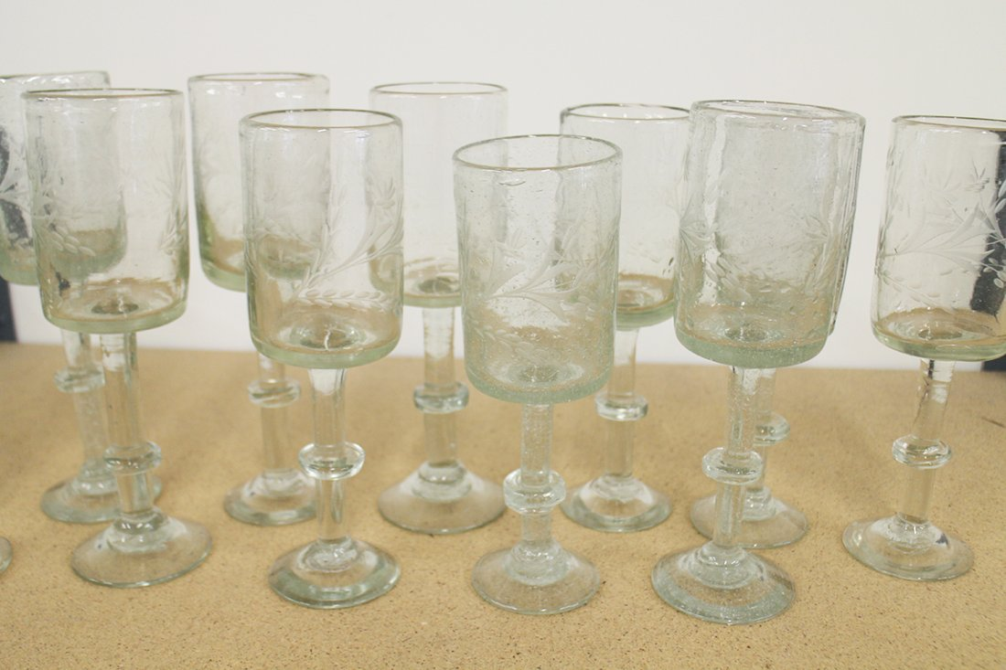 (12) ANTIQUE FREE BLOWN ETCHED FIRING GLASSES - 3
