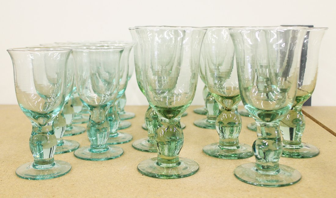 SET OF GREEN STEM GLASSES