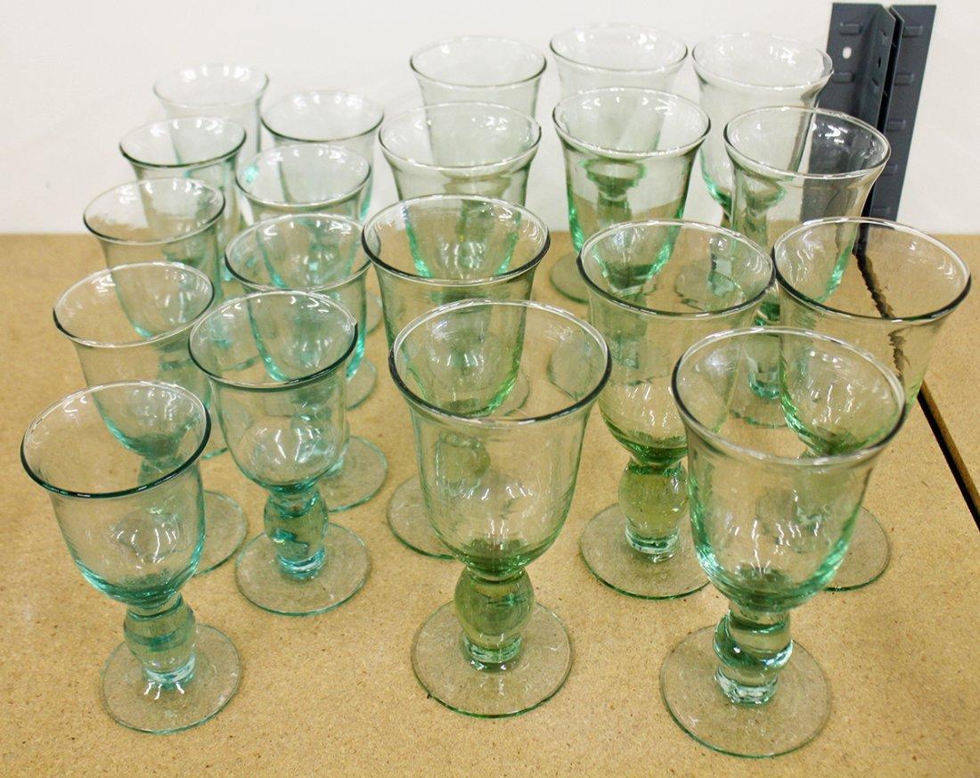 SET OF GREEN STEM GLASSES - 2