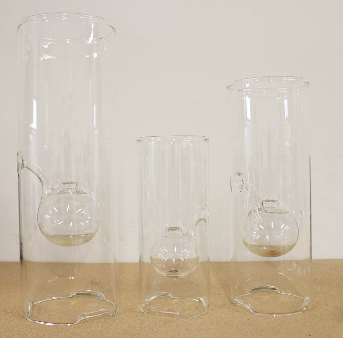 (3) WOLFORD BLOWN GLASS OIL LAMPS