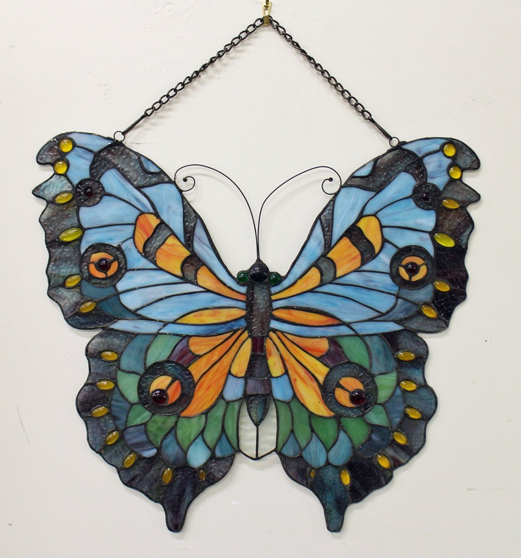 STAINED GLASS STYLE BUTTERFLY WINDOW PANEL